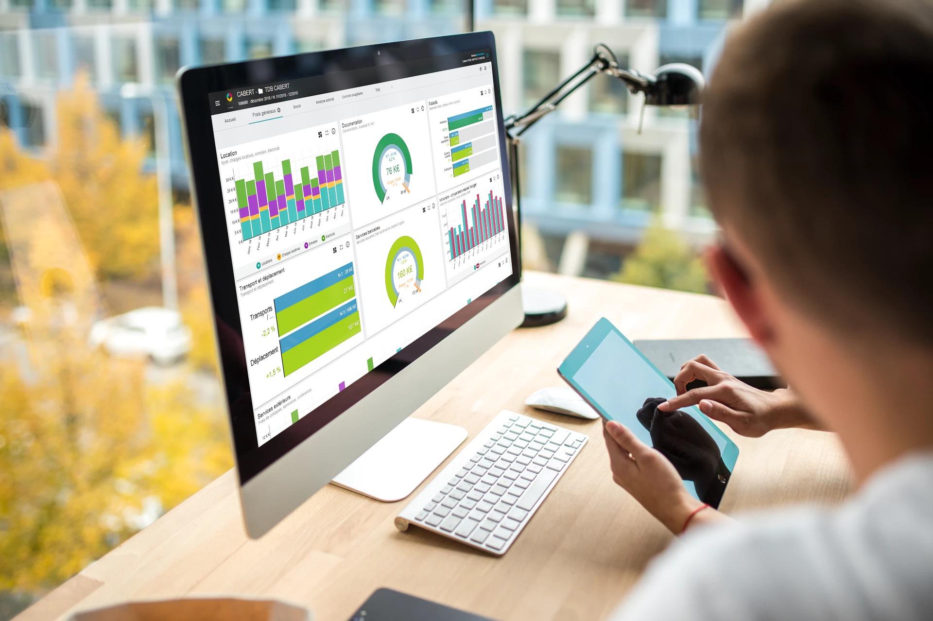 Tableaux de bord Waibi Dashboard sur PC fixe à double écran